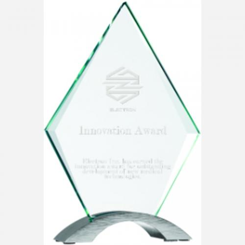 Diamond Cosmic Glass Award on Silver Chrome Arch Base