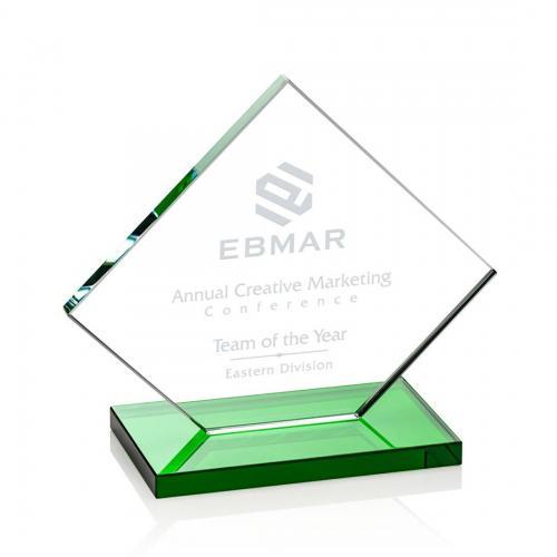 Wellington Clear Glass Diamond Award on Green Base