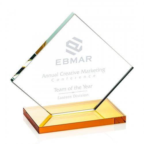 Wellington Clear Glass Diamond Award on Amber Base