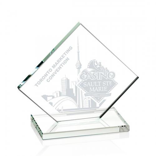 Wellington Clear Glass Diamond Award on Clear Base