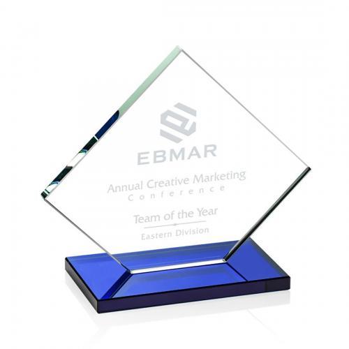 Wellington Clear Glass Diamond Award on Blue Base