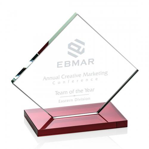 Wellington Clear Glass Diamond Award on Red Base