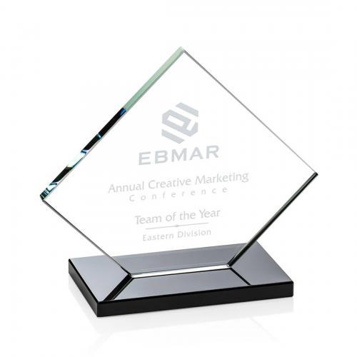 Wellington Clear Glass Diamond Award on Black Base