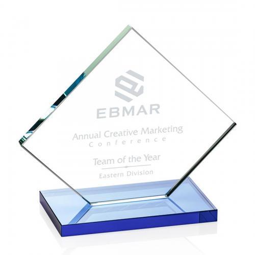 Wellington Clear Glass Diamond Award on White Base