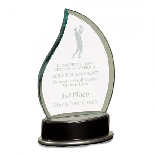 Metro Glass Jade Flame Award with Silver on Black Piano Finish Base