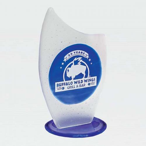 Blue Fusion Frosted Glass Award on Blue Stand