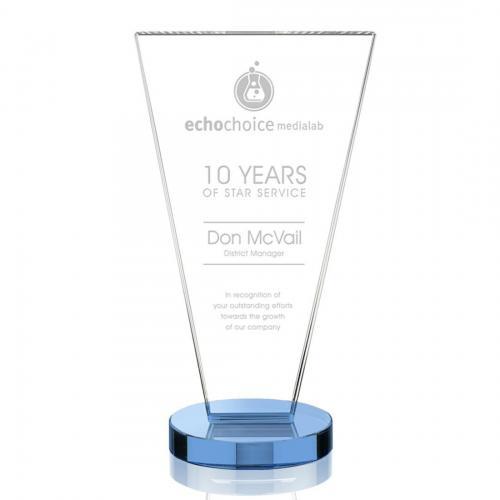 Burney Crystal Triangle Tower Award on Sky Blue Optical Crystal Base