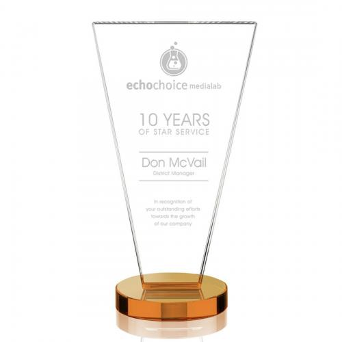 Burney Crystal Triangle Tower Award on Amber Metal Base