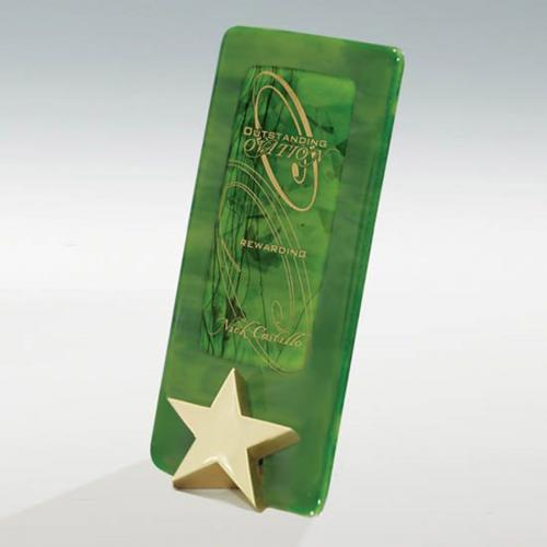 Bright Star Art Glass Green Plaque with Cast Metal Star Base