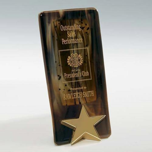 Bright Star Art Glass Brown Plaque with Cast Metal Star Base