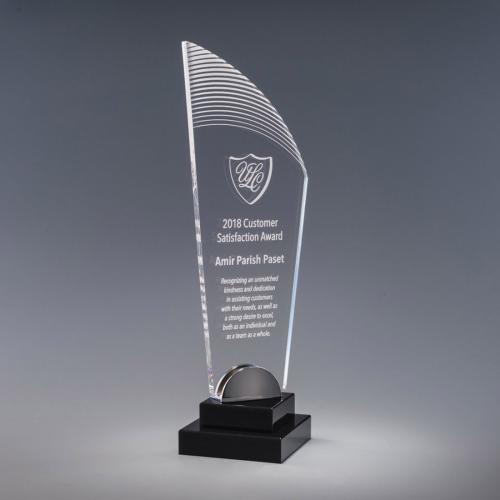 Simpatico Clear Acrylic Tower Award on Black Base