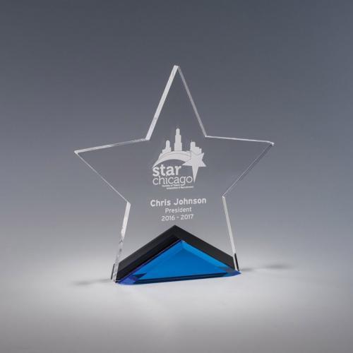 Estrella Clear & Blue Star Acrylic Award