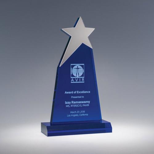 Cobalt Blue Acrylic Star Award