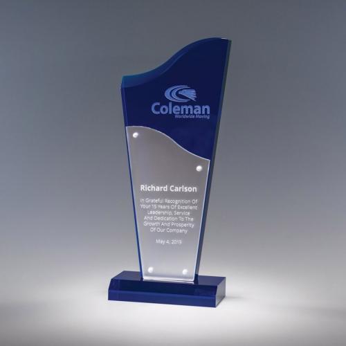 Even Flow Blue & Silver Acrylic Triangle Award