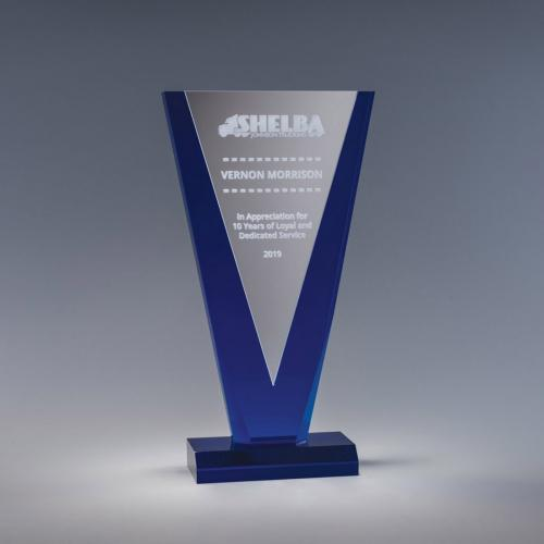 Ascendant Cobalt Blue & Silver Acrylic Triangle Award