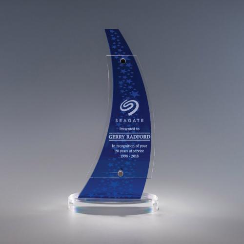 Aurora Blue Acrylic Curved Award on Clear Base