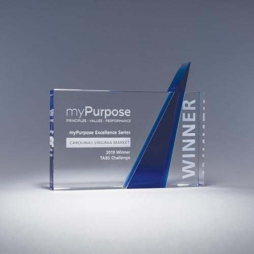 Promnotory Clear Optical Crystal Rectangle Award with Blue Triangle