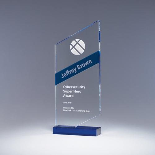 Clear Forward Optical Crystal Award with Blue Stripe