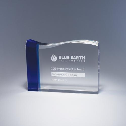 Oceanic Clear & Blue Optical Crystal Rectangle Award