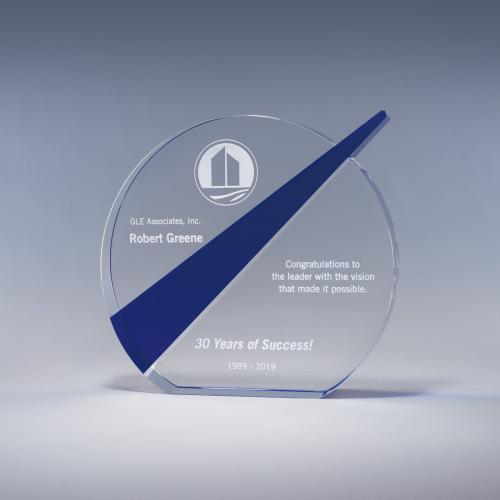 Clear Optical Crystal Circle Messenger Award with Blue Stripe