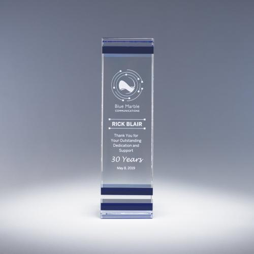 Clear Optical Crystal Essential Award with Blue Accent