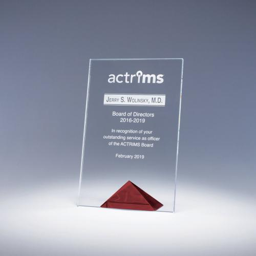 Clear Optical Crystal Paramount Award with Red Pyramid