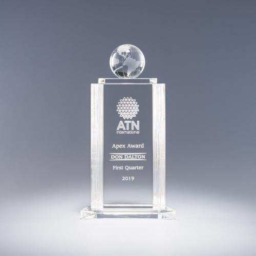Helenic Clear Optical Crystal World Globe Award