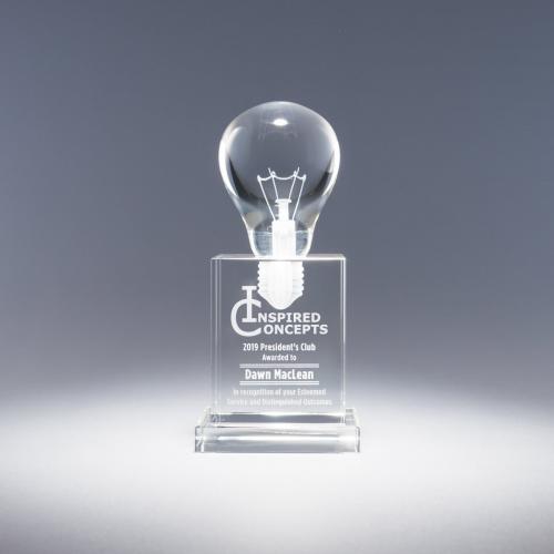 Visionary Clear Optical Crystal Light Bulb Award