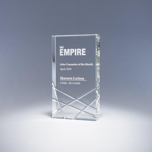 Clear Optical Crystal Rectangle Kinetic Award