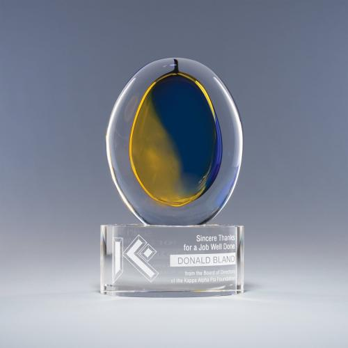 Blue & Yellow Optical Crystal Oval Dreamscape Award