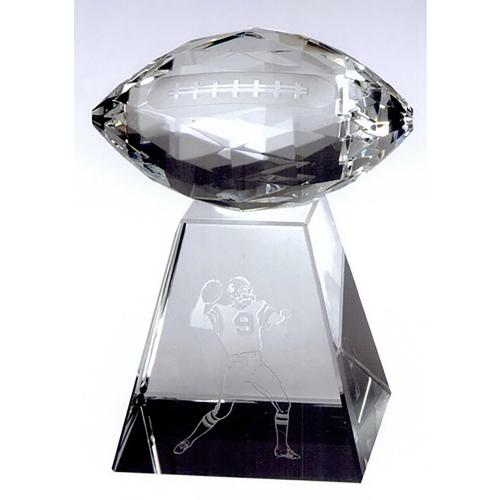 Faceted Optical Crystal Football Award with Tall Base