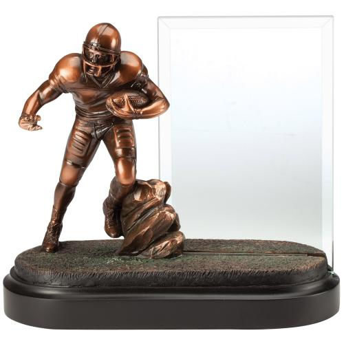 Glass Football Plaque Award with Bronze Football Player