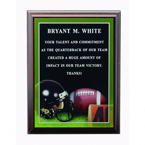 Walnut Wood Football Sports Plaque with Laser Engraving