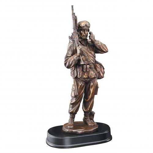 American Hero Military Resin Award on Black Base