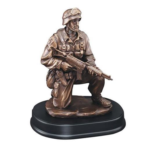Kneeling American Military Resin Award on Black Base