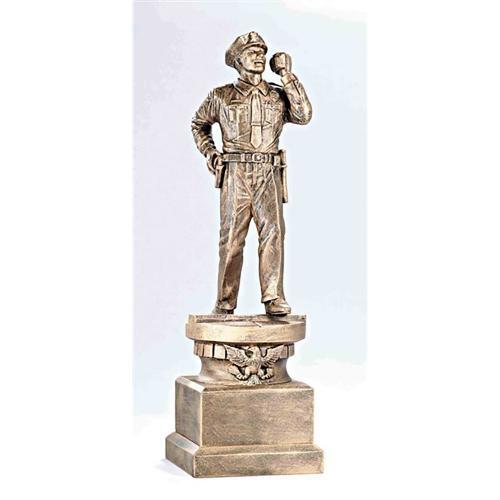 Tribute Bronze Male Police Officer Service Award on Bronze Base