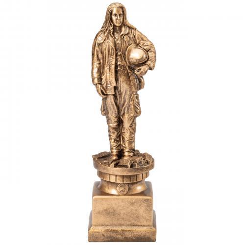 Tribute Female Firefighter Service Award on Bronze Resin Base