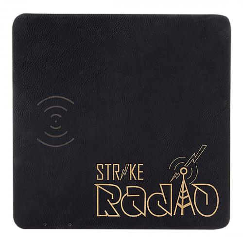 Black Gold Laserable Leatherette Charging Mat