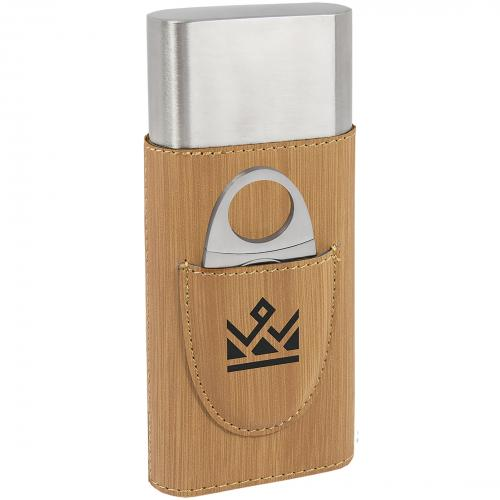 Bamboo Leatherette Cigar Case with Metallic Cigar Cutter
