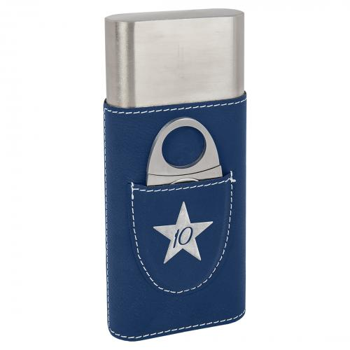 Blue Laserable Leatherette Cigar Case with Cutter