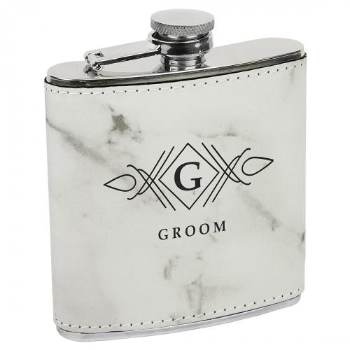 White Marble Leatherette Stainless Steel Flask