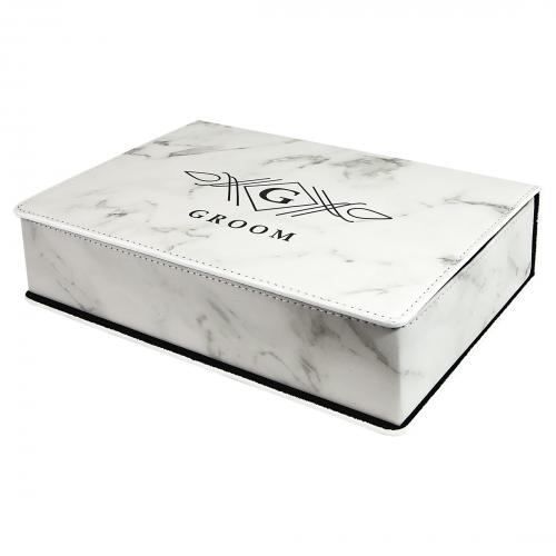 White Marble Laserable Leatherette Flask Gift Set
