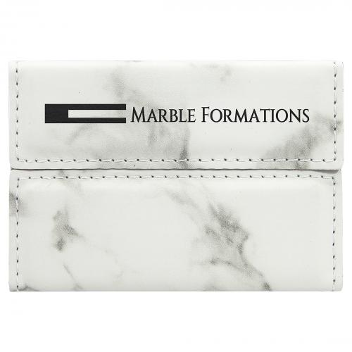 White Marble Laserable Leatherette Hard Business Card Holder