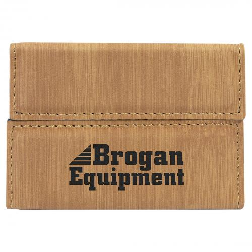 Bamboo Leatherette Card Holder Corporate Gifts with Metallic Case