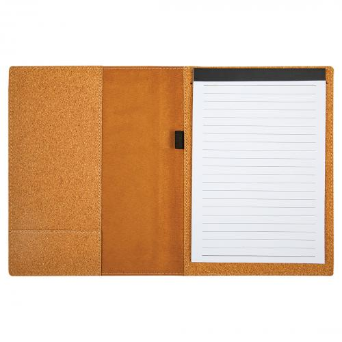 Small Rectangle Cork Portfolio Lined with Note Pad