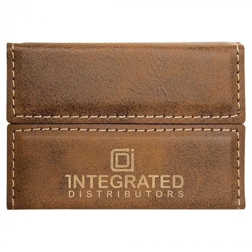 Rustic Laserable Leatherette Hard Business Card Holder