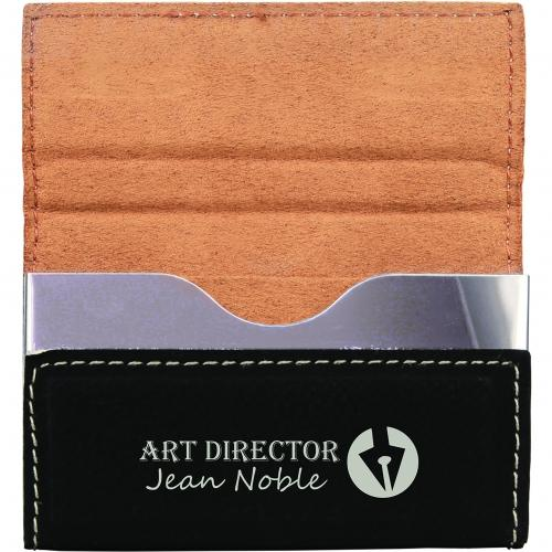 Black Leatherette Hard Card Holder Business Gifts