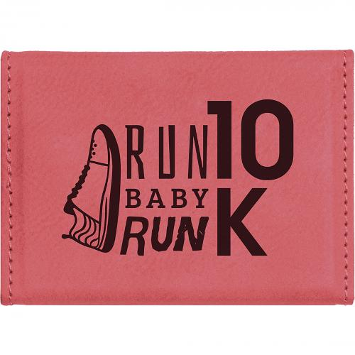 Pink Laserable Leatherette Hard Business Card Holder