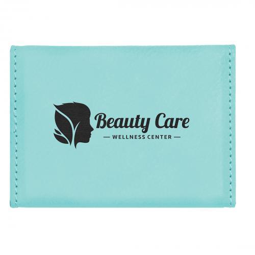 Teal Laserable Leatherette Hard Business Card Holder