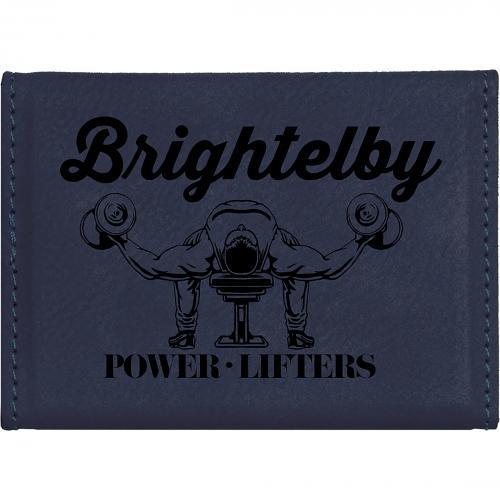 Blue Black Laserable Leatherette Hard Business Card Holder